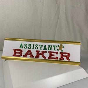 Assistant Baker Desk Name Plate Gingerbread Man